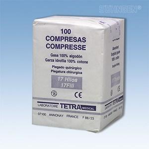Gaaskompressen - 7,5 x 7,5 cm - per 100 verpakt (niet steriel)